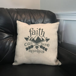 Faith Can Move Mountains Linen Pillow