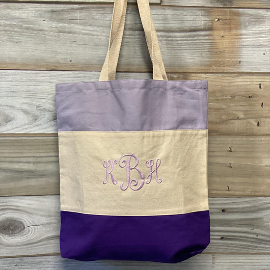Monogrammed Tri-Color Canvas Tote