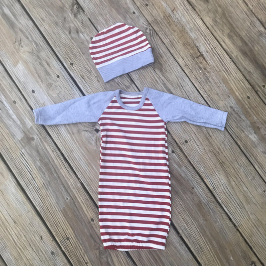 Candy Cane Infant gown and Hat