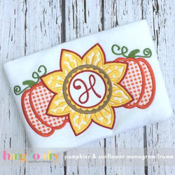 Pumpkins and Sunflower Monogram Frame