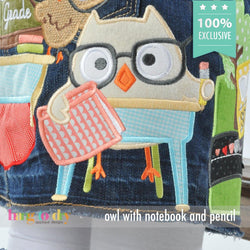Owl with Notebook and Pencil Personalized Tee