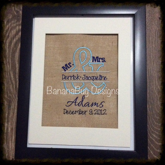 Burlap Mr. & Mrs. Embroidered design