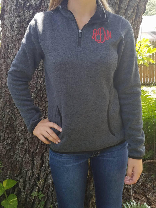 Monogrammed Charles River Heathered Fleece Pullover
