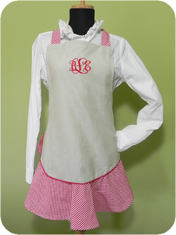 Adult red/white gingham apron