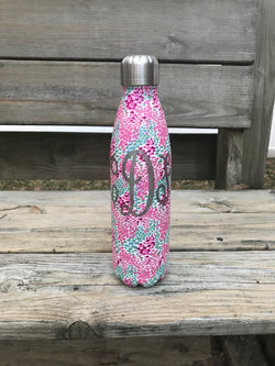 Monogrammed PowderCoated Stainless steel water bottle.