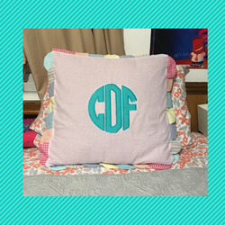 Monogrammed Seersucker Scalloped Throw Pillow