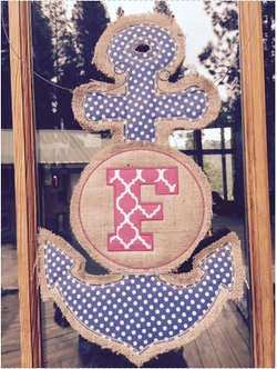 Monogrammed Anchor Door Hanger