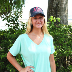 Distressed Monogrammed Trucker Cap