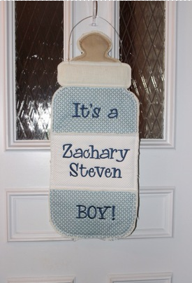 Monogrammed Baby Bottle Door Hanger