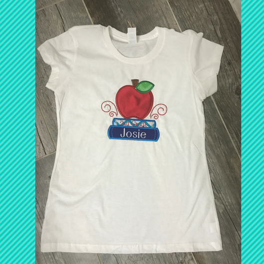 Personalized Back to School Apple and Books Tee