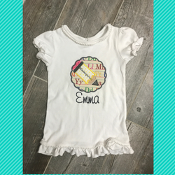 Personalized Back To School Tee Scalloped Pencil