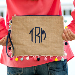 Monogrammed Multi-Colored Pom  Pom Burlap Clutch