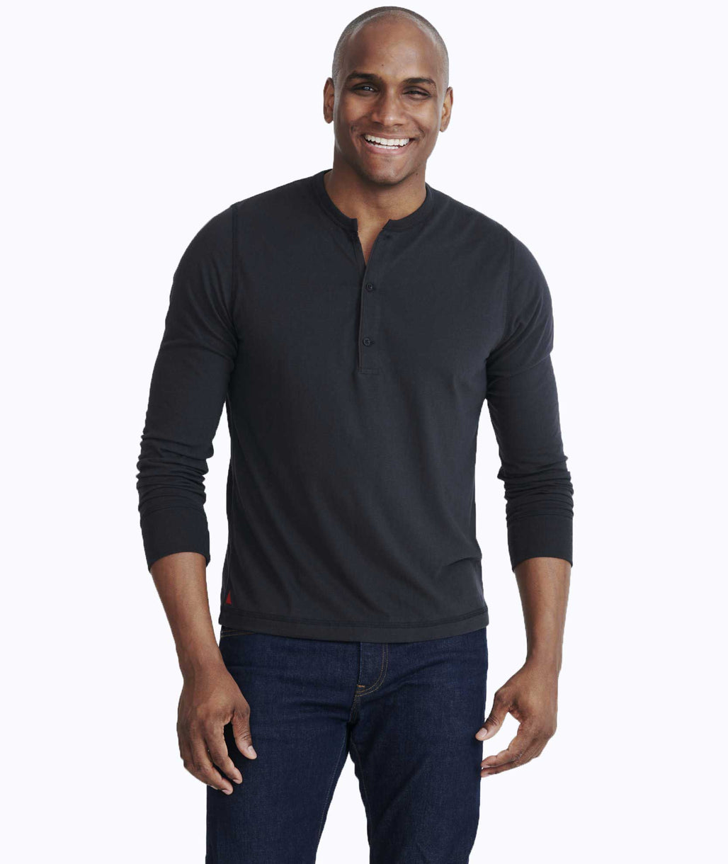 Model wearing a Black Ultrasoft Long-Sleeve Henley