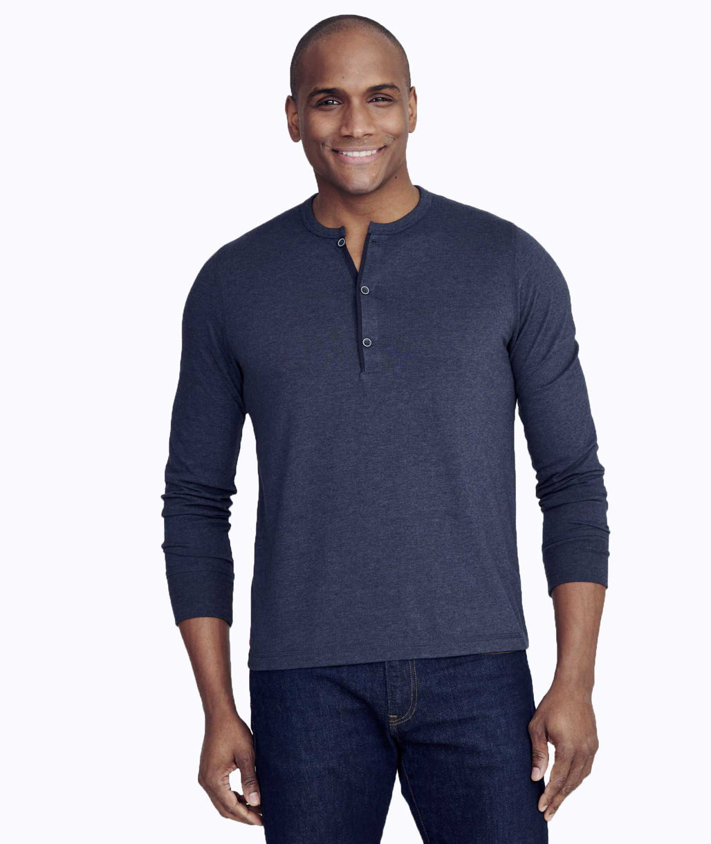 Model wearing a Dark Grey Ultrasoft Long-Sleeve Henley