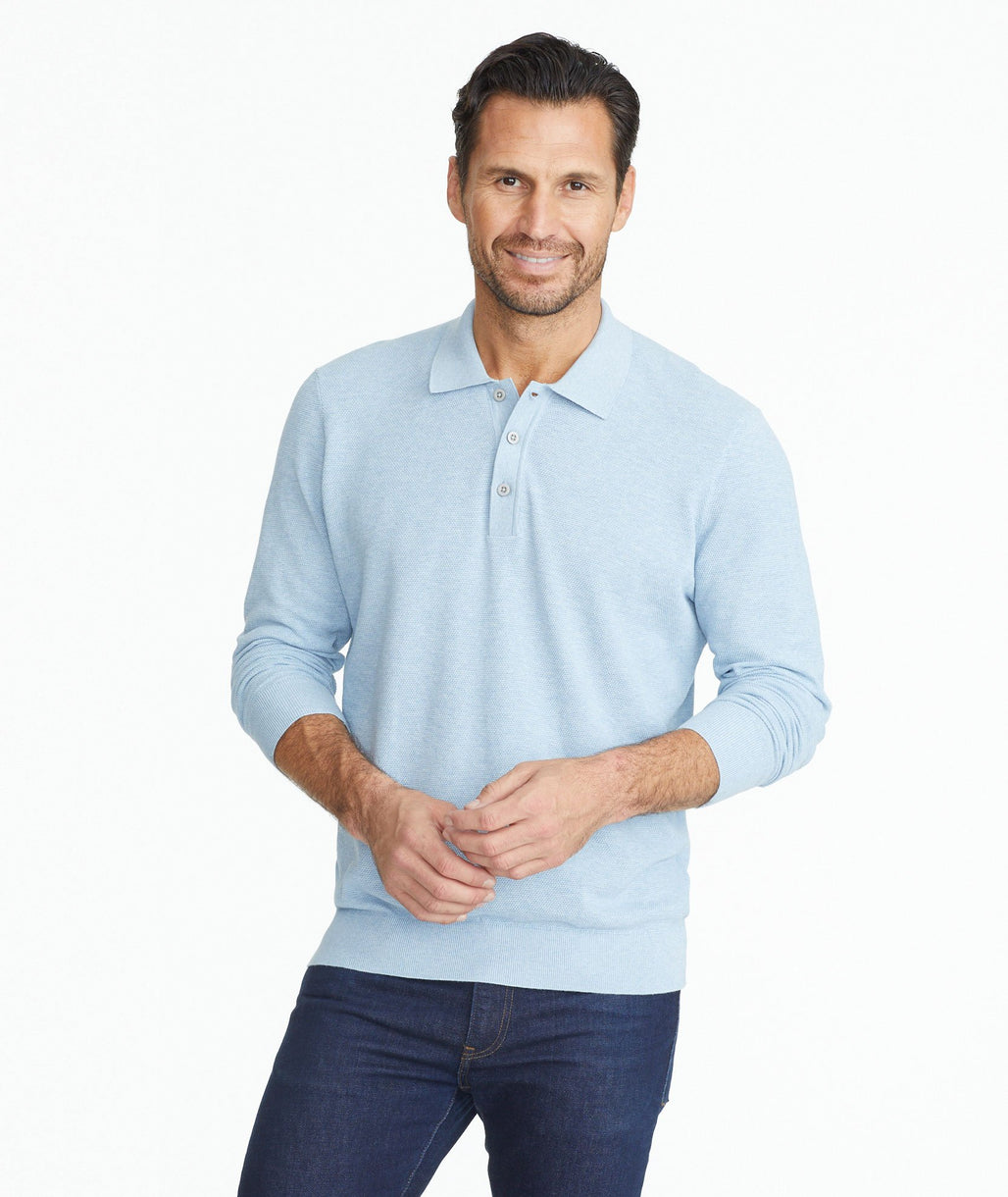 Model wearing a Light Blue Textured Long-Sleeve Polo