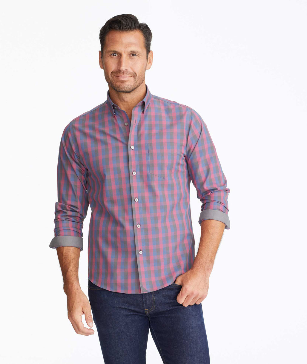 Model wearing a Dark Red Wrinkle-Free Altamura Shirt