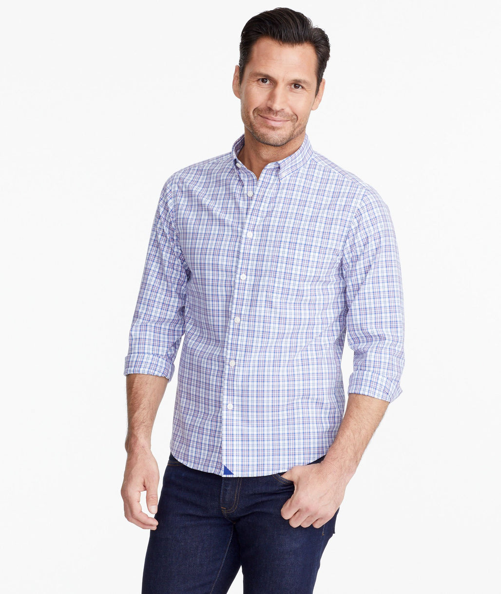 A model wearing a Blue Wrinkle-Free Andradas Shirt