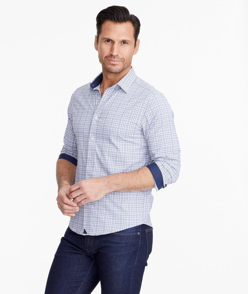 A model wearing a Navy Wrinkle-Free Performance Armand Shirt