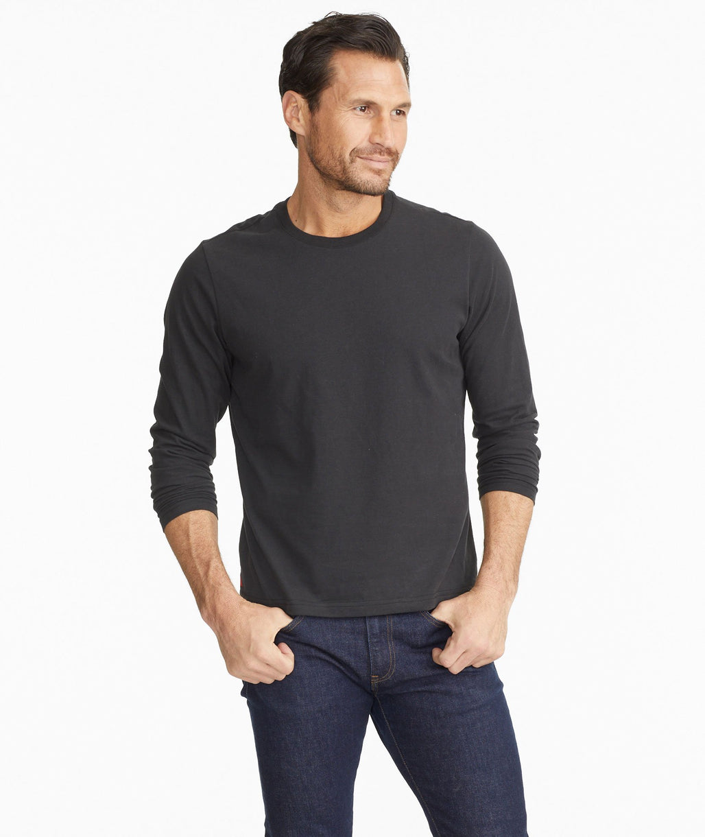 Model wearing a Black Ultrasoft Long-Sleeve Tee