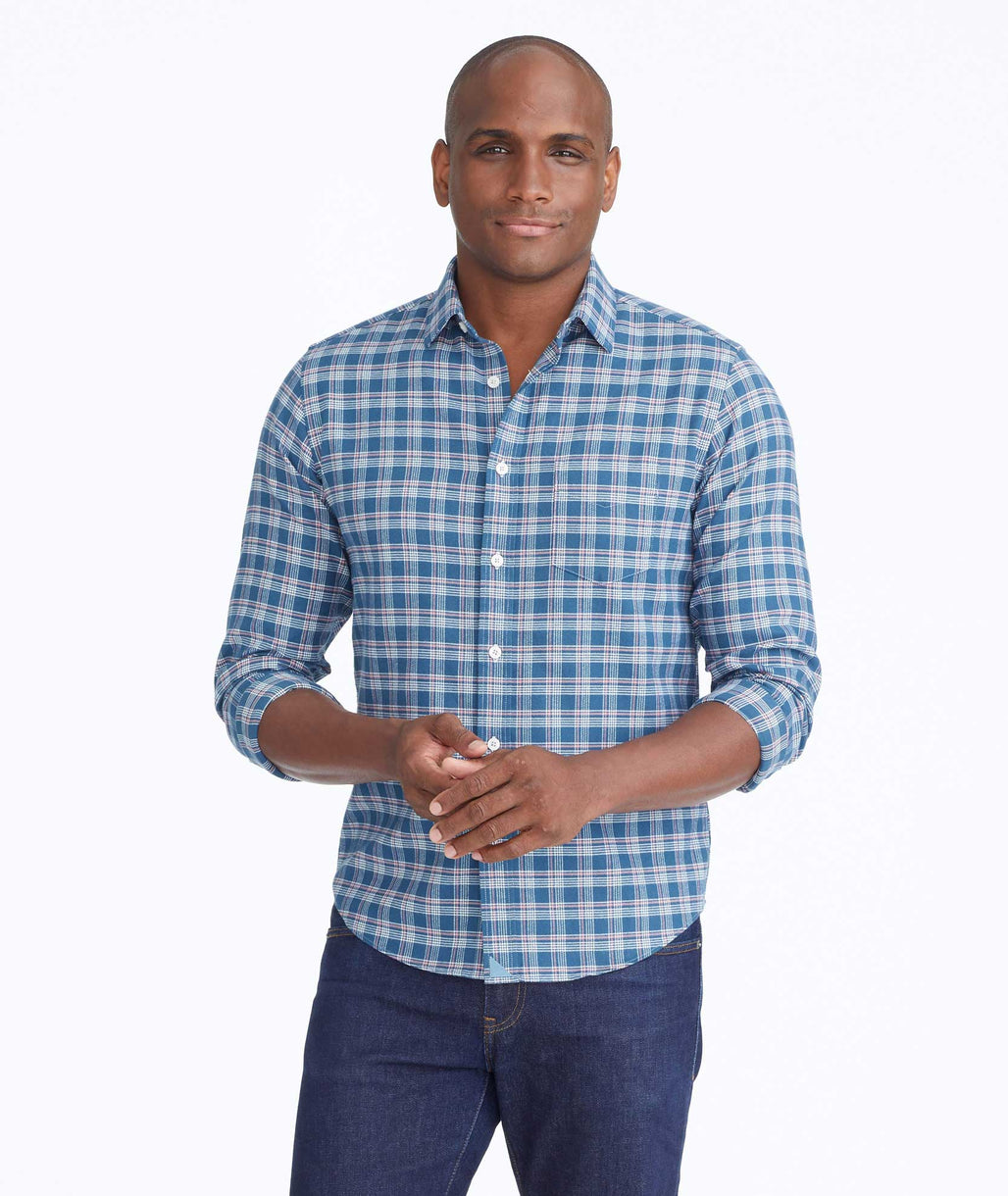 Model wearing a Mid Green Flannel Balthazar Shirt