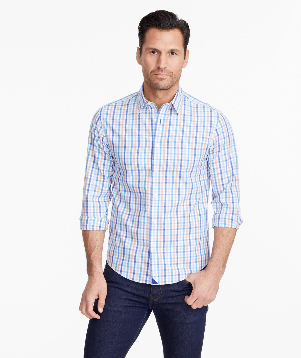 A model wearing a Blue Wrinkle-Free Barone Shirt