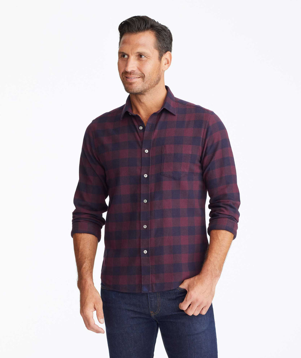Model wearing a Dark Red Flannel Barrelstone Shirt