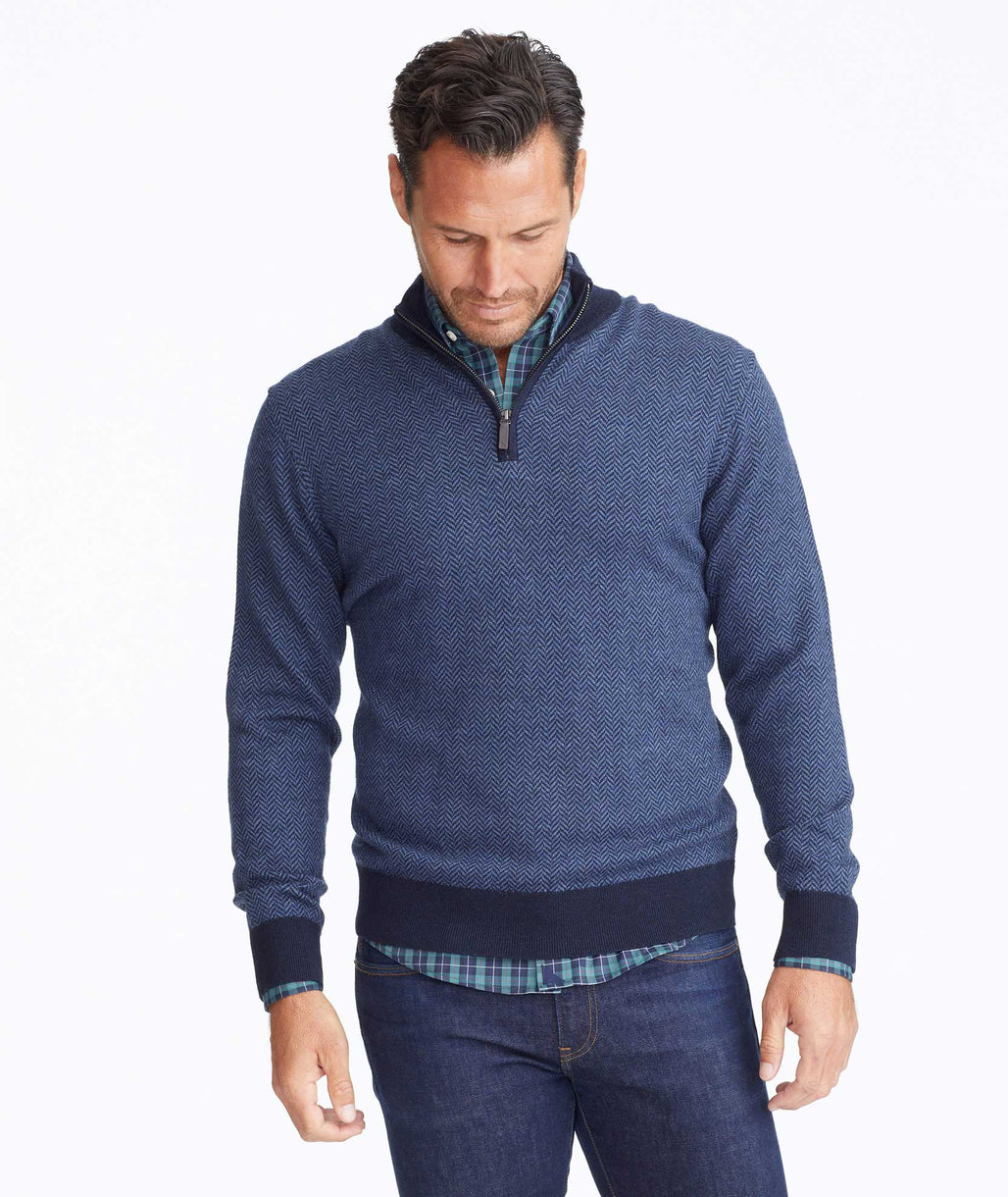Merino Wool Herringbone Quarter-Zip