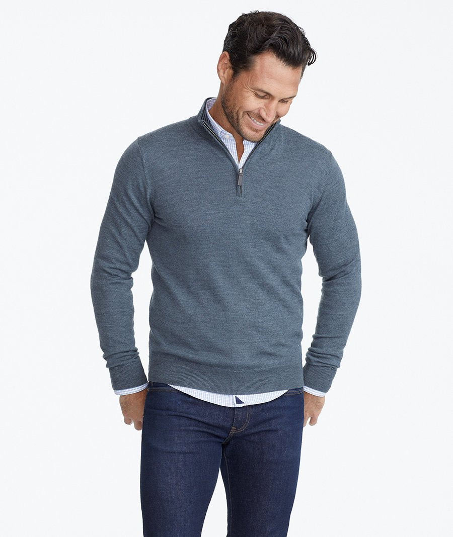 Model wearing a Dark Grey Merino Wool Quarter-Zip