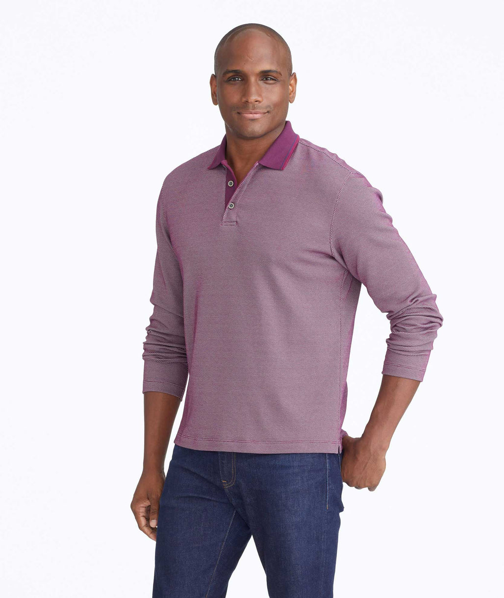 Textured Long-Sleeve Polo
