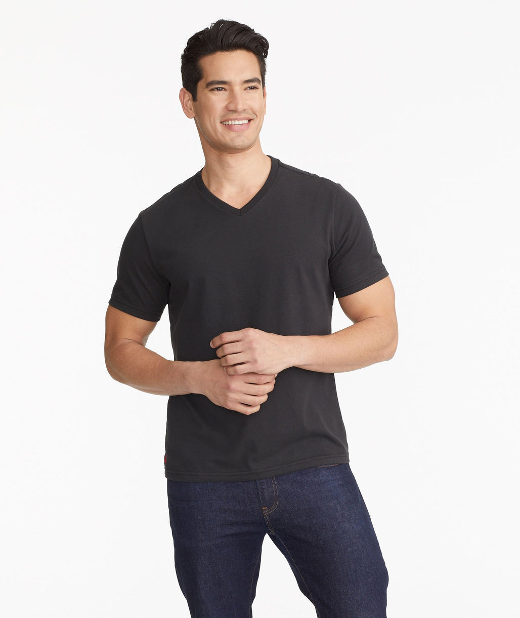 Model wearing a Black The Ultrasoft V-Neck Tee