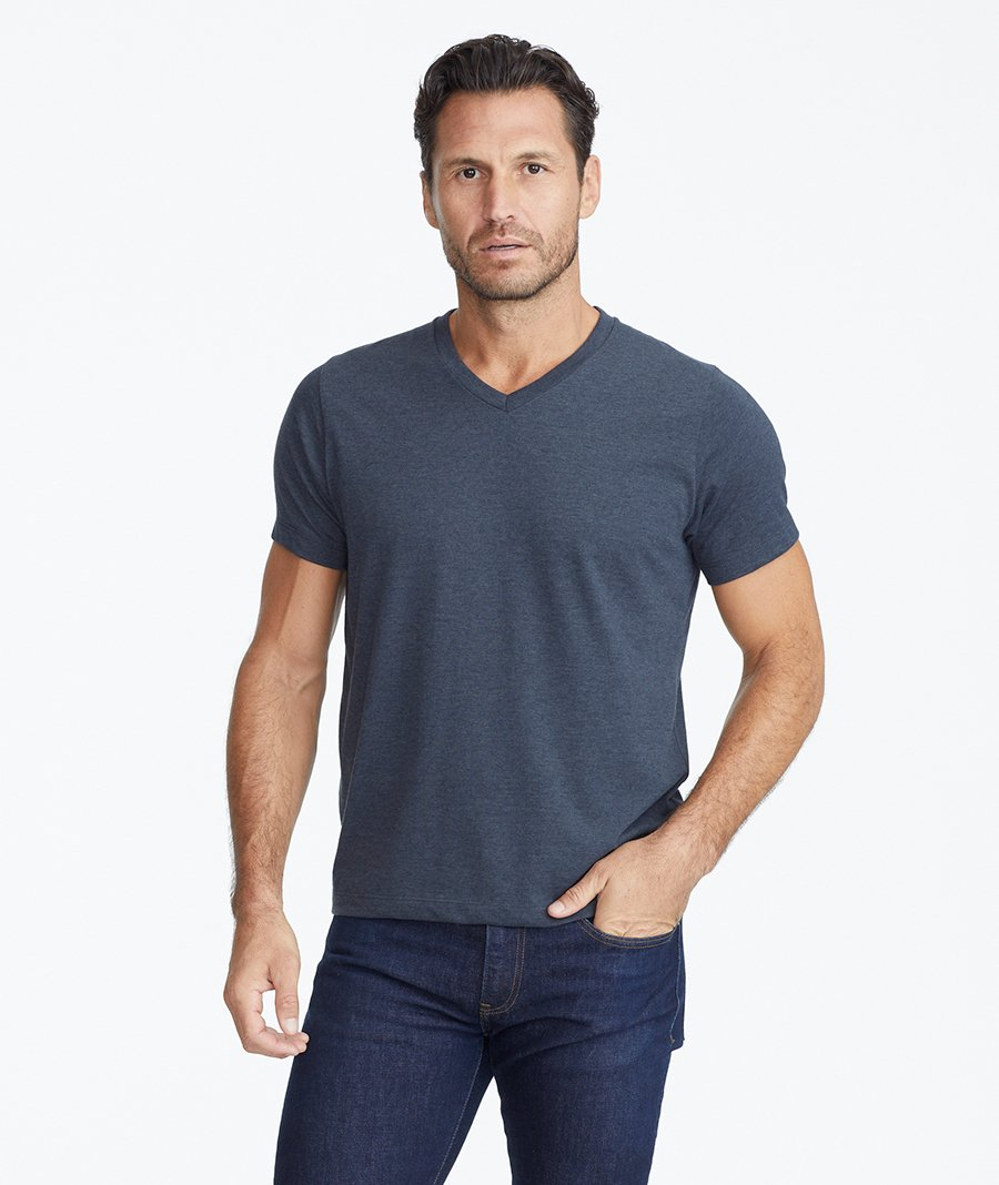 Model wearing a Dark Blue The Ultrasoft V-Neck Tee