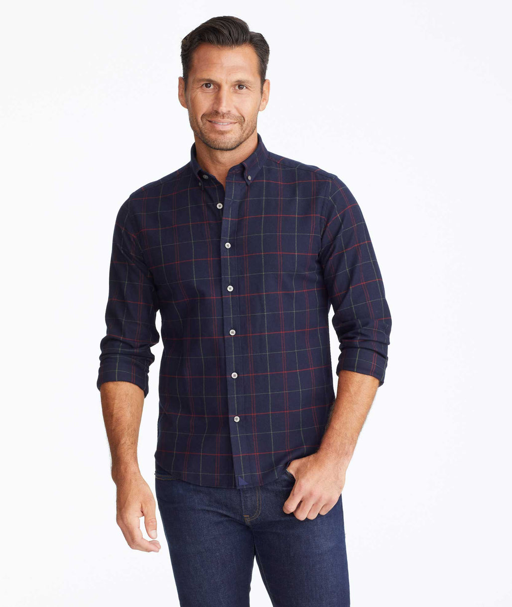 Model wearing a Navy Flannel Cappezzana Shirt