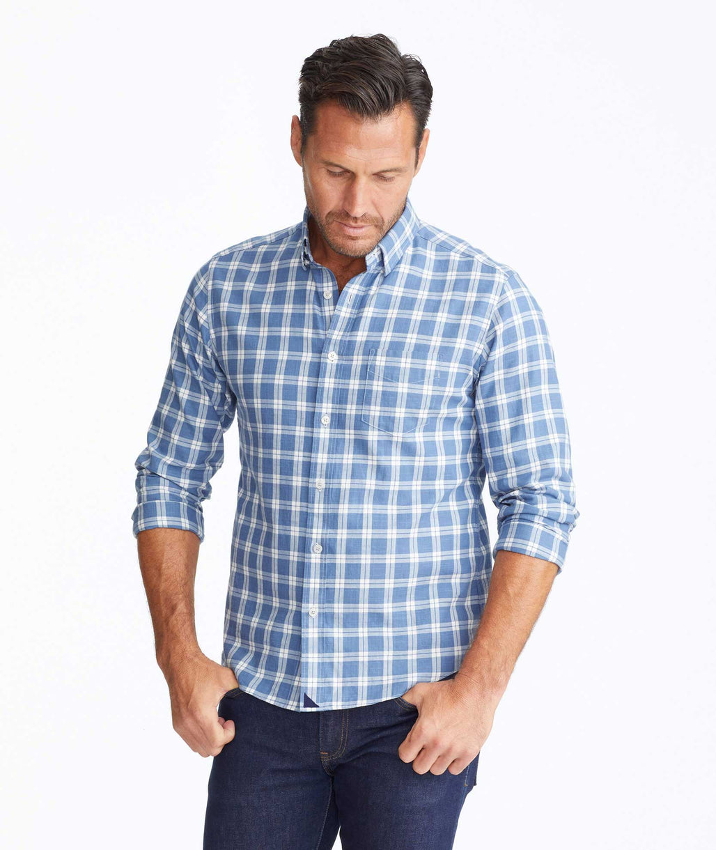 Model wearing a Blue Classic Cotton Carmenet Shirt