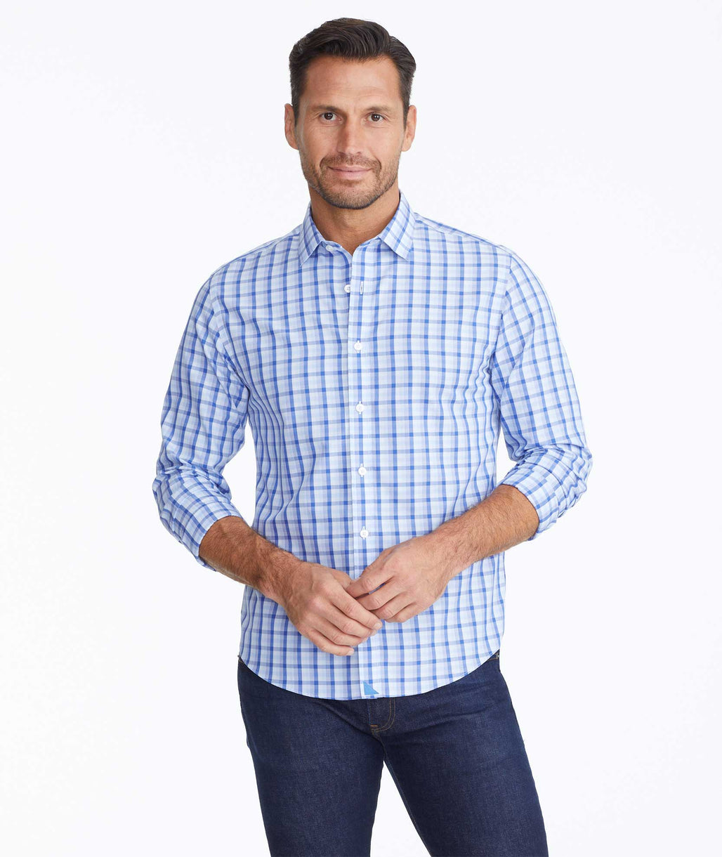 Model wearing a Blue Wrinkle-Free Cataldi Shirt