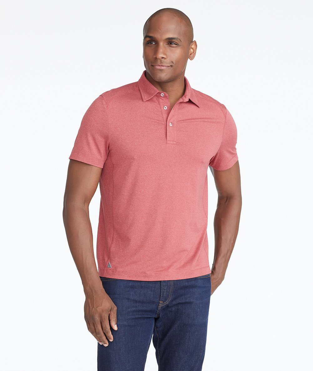 Model wearing a Mid Red The Performance Polo