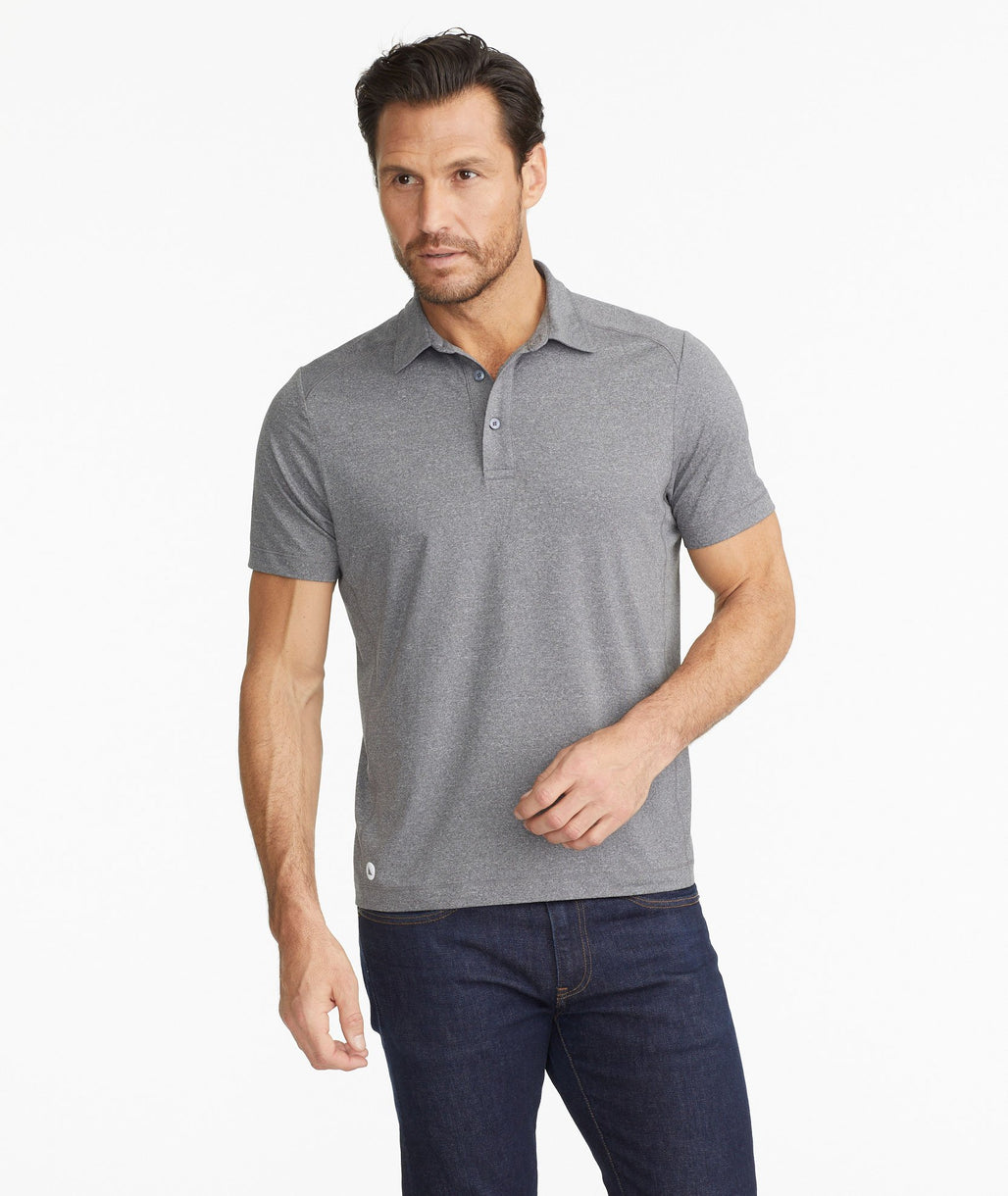 Model wearing a Grey The Performance Polo