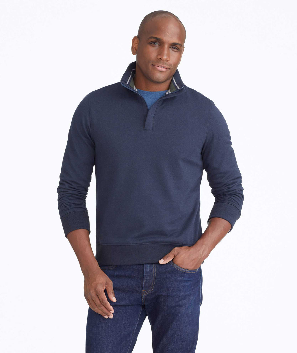 Model wearing a Navy Quarter-Zip Sweatshirt