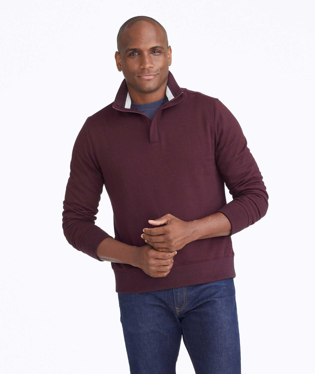 Model wearing a Dark Red Quarter-Zip Sweatshirt