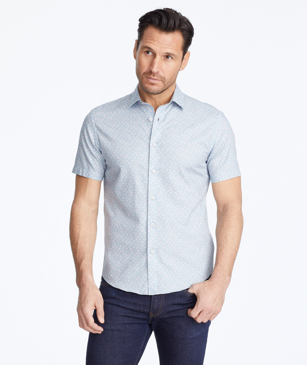 Model wearing a Light Grey Classic Cotton Short-Sleeve Cousino Shirt