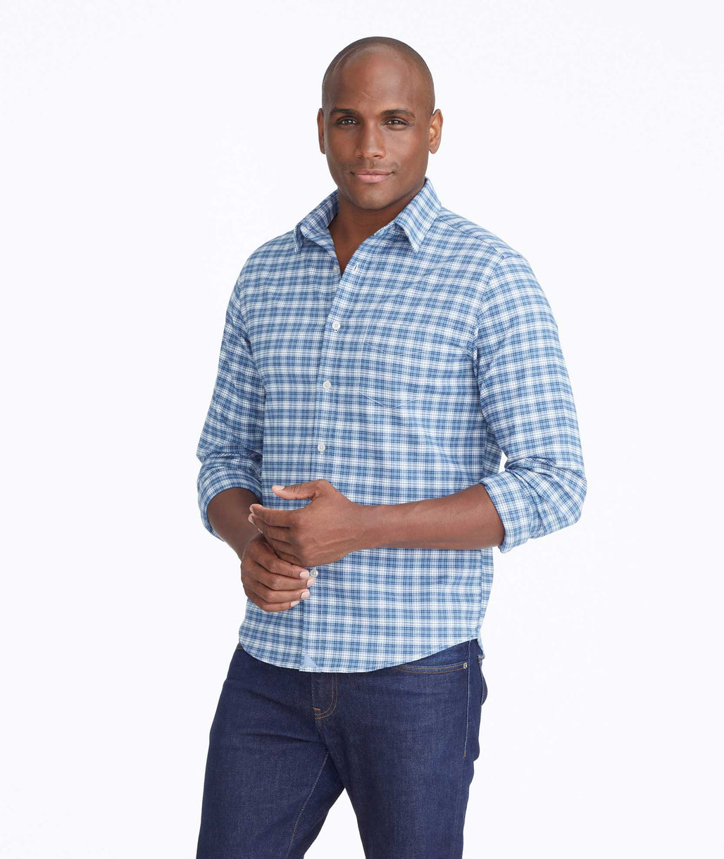 Model wearing a Blue Wrinkle-Free Performance Flannel Dhais Shirt