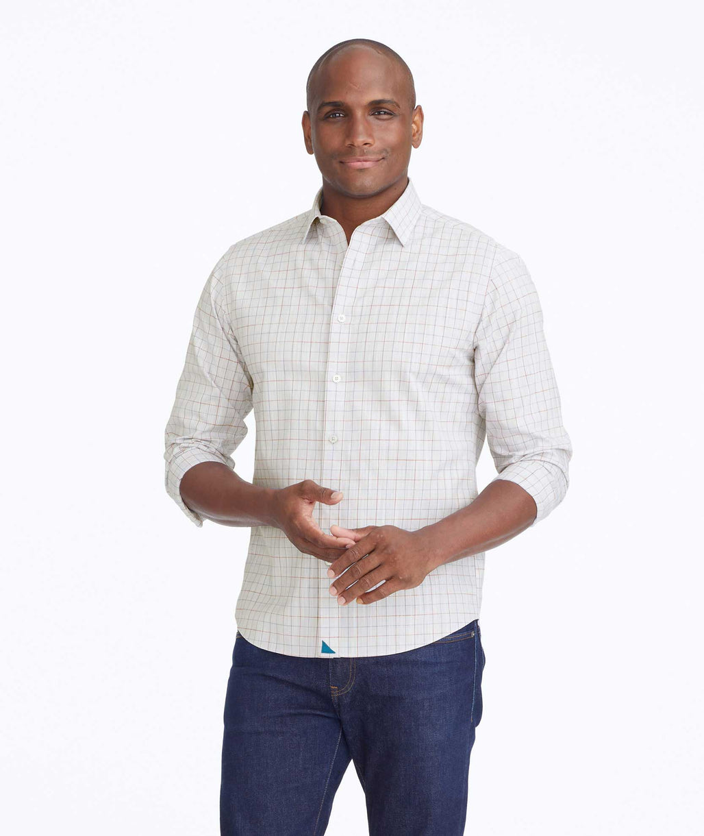 Model wearing a Tan Wrinkle-Free Ernesto Shirt