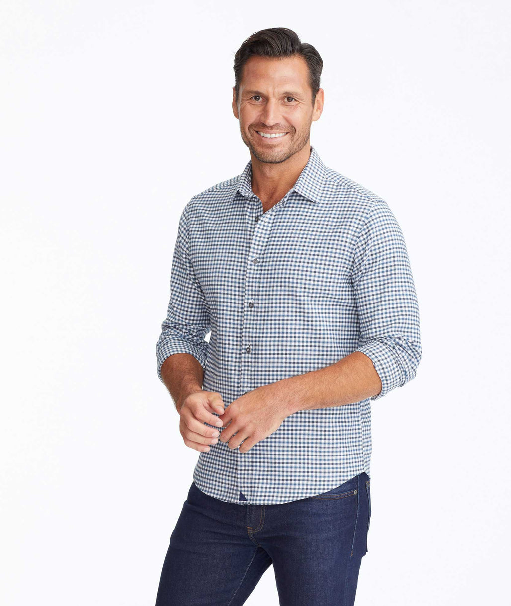 Model wearing a Blue Flannel Gibbston Shirt