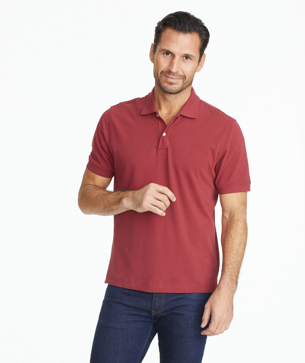 Model wearing a Dark Red The Classic Pique Polo