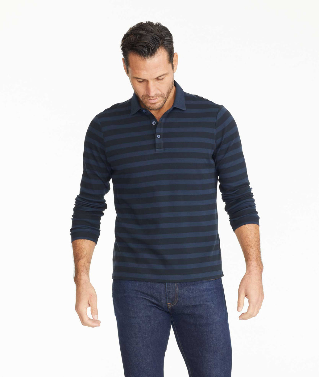 Model wearing a Striped Long-Sleeve Polo