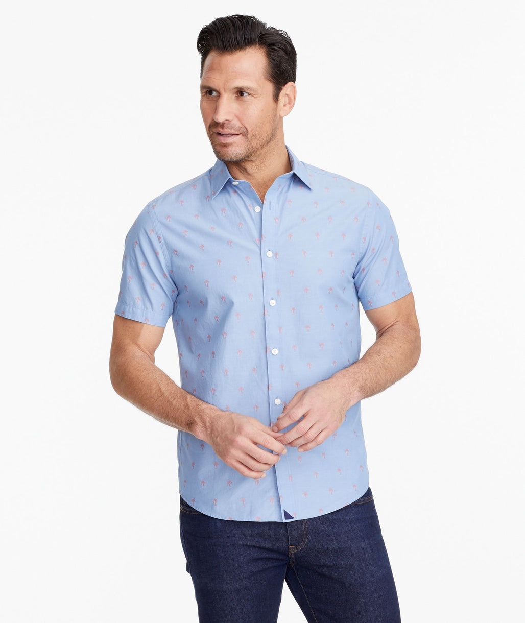 A model wearing a Light Blue Classic Cotton Short-Sleeve Hamilton Shirt