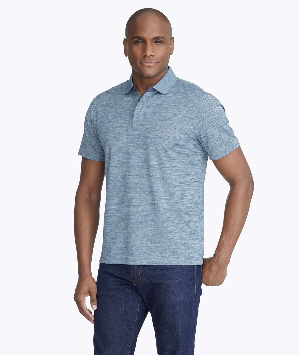 Model wearing a Bright Blue Heathered No Sweat Polo