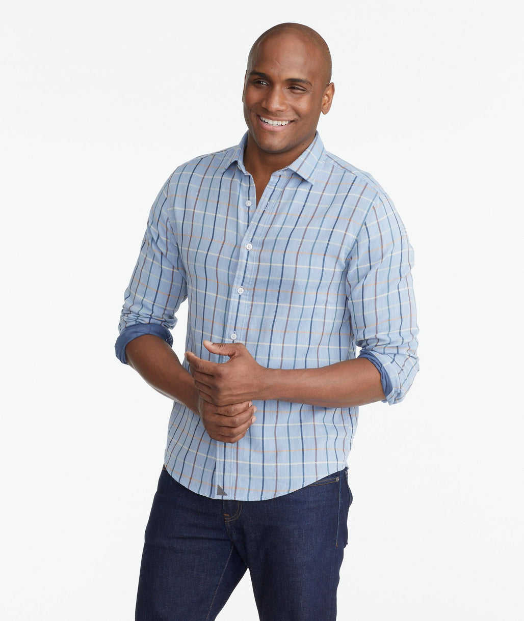 A model wearing a Light Blue Double Gauze Hartley Shirt