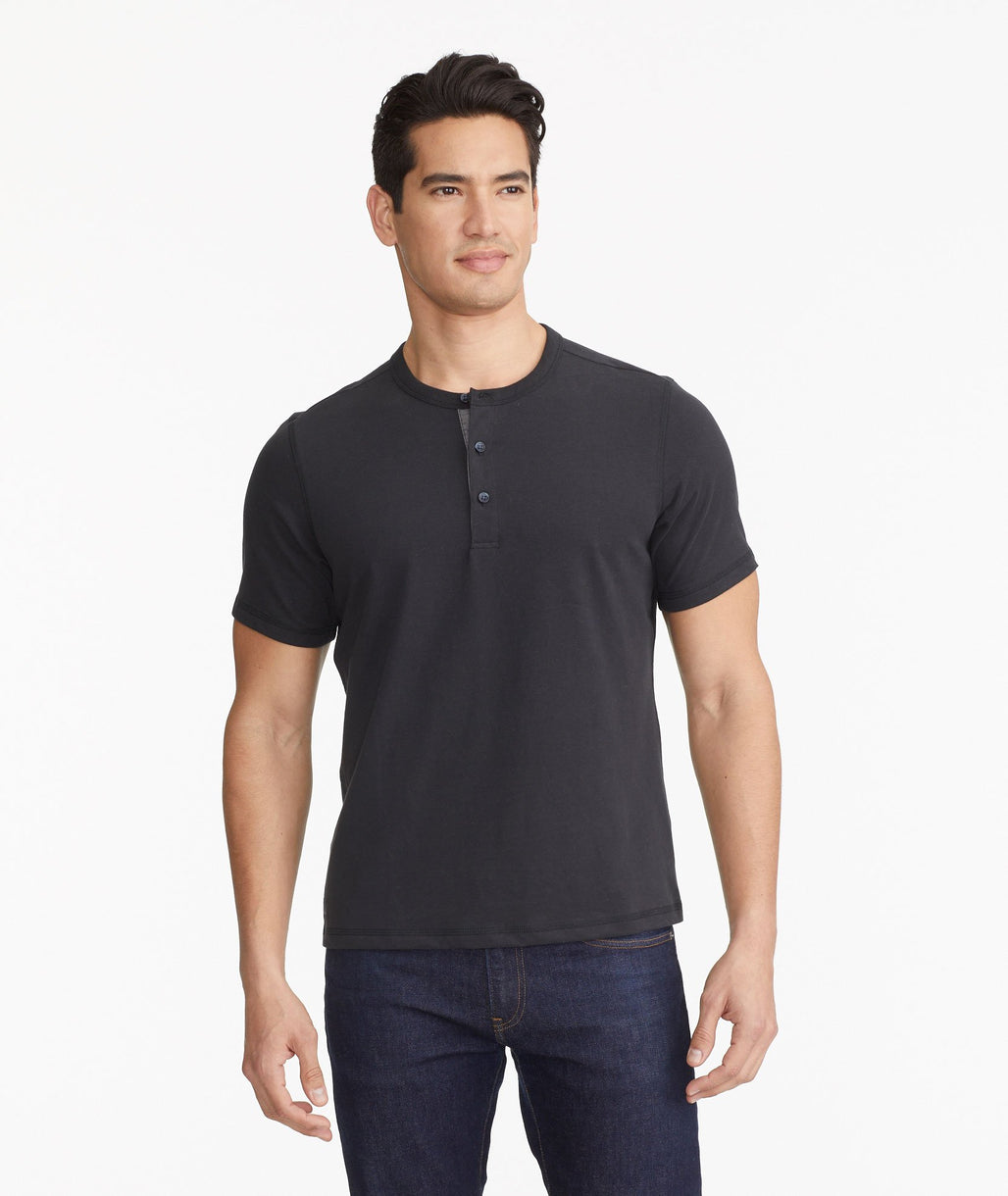 Model wearing a Black The Ultrasoft Short-Sleeve Henley