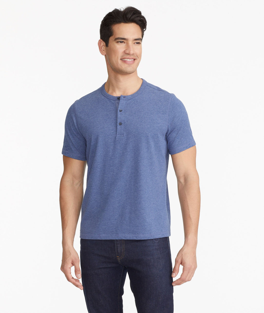 Model wearing a Blue The Ultrasoft Short-Sleeve Henley