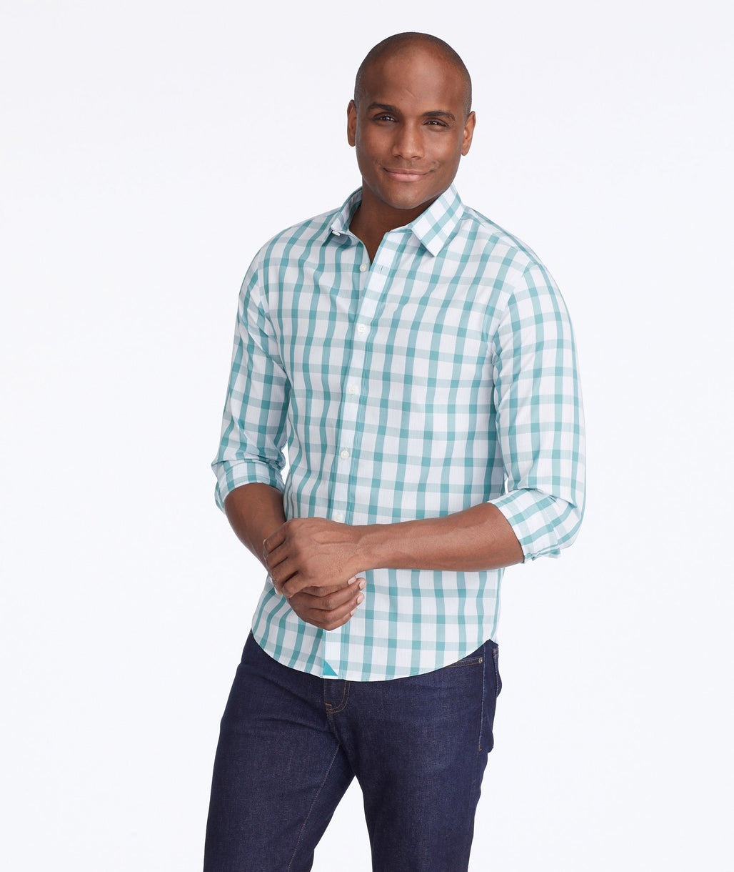 Model wearing a Green Wrinkle-Free Keaton Shirt
